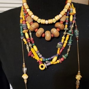 Lot of Vintage Wooden bead Necklaces 80s style
